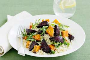 Roasted Beetroot Sweet Potato and couscous salad